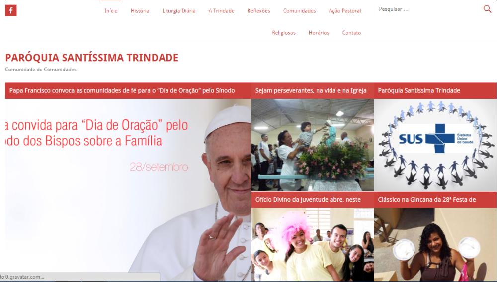 Novo layout do site da Paróquia Santíssima Trindade